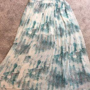 Long pleated multi color skirt